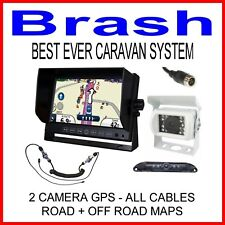 "7"" CARAVAN GPS 2 CAMERAS, ROAD + OFF ROAD MAPPING - ALL CABLES, WOZZA LATEST MAP"