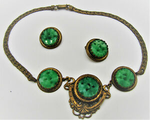 VICTORIAN BRASS CARVED JADEITE NECKLACE AND EARRING SET