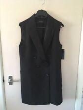 BNWT ZARA Black Waistcoat with Contrasting Lapels Size M