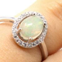 Authentic Fire Opal Solitaire Ring Women Jewelry 14K White Gold Size 5 6 7 8 9