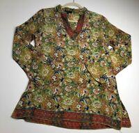 Tolani Women's Long Sleeve Tunic Blouse Top Small S Multicolor Floral Silk Boho