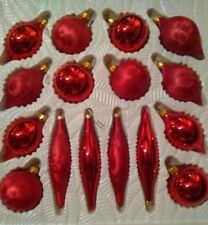 Vintage xmas Ornaments glass Mixed Lot of matte & glossy teardrop red breakable
