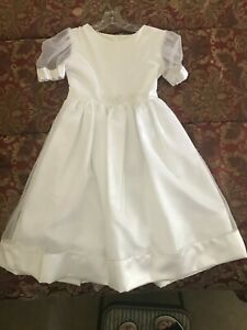 Vintage Girls White Party Flower Girl Communion Dress by Allie Wade, Size 10