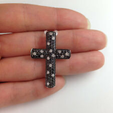 Black & White Diamond Cross Pendant-14k white gold AAA Solid Blessing of Jesus