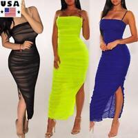 Woman's Sexy Bodycon Dress Ladies Sling Summer Split Maxi Evening Clubwear Party