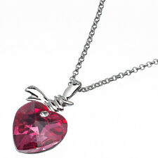 5.88 Ct Heart Cut Style Shape Pink Sapphire CZ 18K White Gold Plated Pendant
