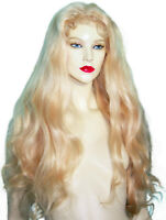 Human Hair Silk Top Full Lace Wig Remi Remy Blonde #613 Body Wave Long
