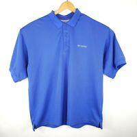 Columbia PFG Mens Size XL Vented Short Sleeve Blue 3 Button Polo Omni Shade