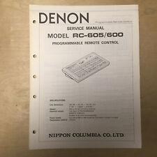 Original Denon Service Manual for the RC-605 RC-600 Remote Control
