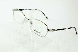 NEW Versace Mod 1192 1000 Silver Oval Black White Metal Eyeglasses 52/16/135