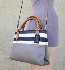 Coach Bar Stripe Mini Borough crossbody leather Bag 30358 satchel purse carryall