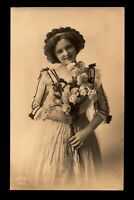 1912 Young Lady & Flowers Photo Postcard / Netherlands Used - L14979