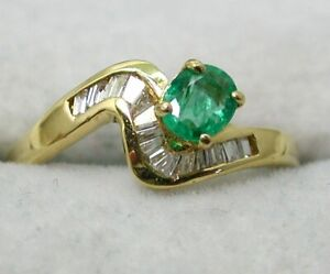 Vintage Lovely 18 carat Gold Emerald And Baguette Cut Diamond Ring Size M