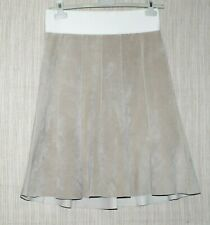 June Ivory Leather Suede A Line Knee Length Skirt Size: 6