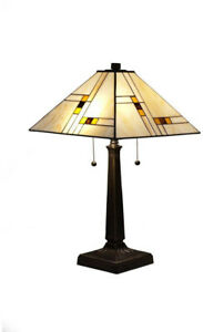 Table Lamp 23 in.Tiffany Style Mission Stained Glass Shade Zinc Alloy Metal Base