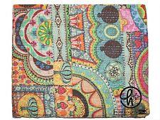 Indian 100% Cotton Kantha Quilt Bedspread Bedding Handmade Blankets Twin & King