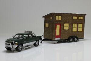 1996 Dodge Ram 1500 Truck RV Camper Trailer Tiny House 1:64 Scale Diecast Model