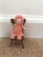 """2.5in. Bisque Miniature Doll with """"C7"""" and """"Germany"""" on Back and Leg with Chair"""