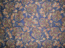 New listing Vintage Maroon and Gold Paisley on Navy Polished Cotton 72 X 44 2 Yds