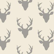 Art Gallery ~ Buck Forest Silver KNIT Jersey Fabric / dressmaking deer grey