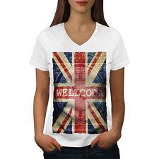 Wellcoda UK Flag Tower Wellcoda Womens V-Neck T-shirt, UK Graphic Design Tee