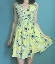 Zara Yellow Grey Floral Wrap Look Sleeveless Mini Dress Size M - B38