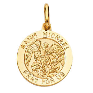 GOLD -14K St. Michael Pray For Us Religious Charm Pendant For Necklace or Chain