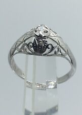 1910 ANTIQUE DIAMOND RING ART DECO FILIGREE BAND 14k WHITE GOLD Engagement
