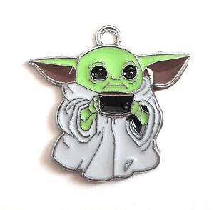 Bulk 1-5-10pc Charms Baby Yoda, The Child, Grogu Enamel Pendant Metal Star War