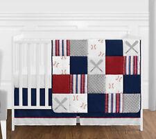 Bumperless Red Blue Baseball Sports Baby Boy Crib Bedding Set Sweet Jojo 4pc