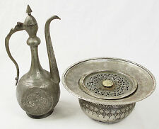 Antique islamic Engraved copper Ewer Pitcher Basin set from Afghanistan No:16/F