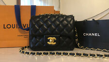 Chanel Classic Mini Flap Bag Black Lambskin Gold Chain