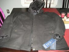 MENS Tommy Hilfiger Wool Peacoat WITH REMOVABLE HOOD Black XXL 2XL NWT $300