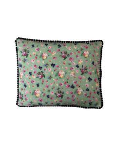 "17""x14 Vintage style Green Floral Black pompom trim scatter cushion covers sham"