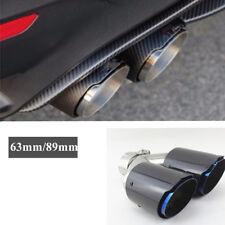 Chrome Blue 63mm/89mm Dual Exhaust Trim Tips Muffler Pipe Carbon Fiber+steel