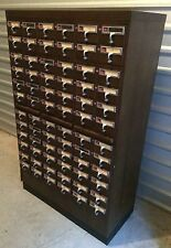 72 DRAWER WOODEN LIBRARY CARD CATALOG CABINET SOLID WOOD DRAWERS VINTAGE ANTIQUE