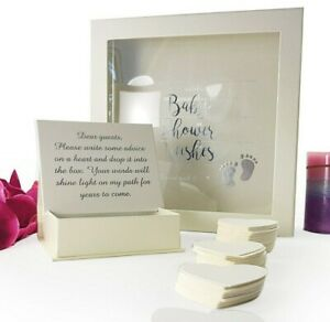 BABY SHOWER Guest Book Wishes Drop Box + 80 Heart Cards Guestbook BOY or GIRL