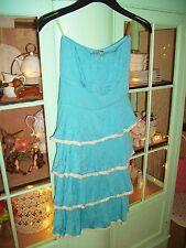 Donna elegante Blu/Verde Senza spalline Estate Ruffle Dress con finitura in pizzo, taglia XS