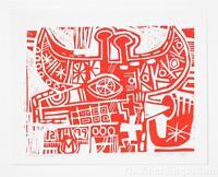 Mark T. Smith Bullhead Signed Limited Edition Linocut Block Print