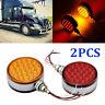 2PCS Red/Amber Round LED Pedestal Side Marker Light Lamp Dual Face Turn Signal
