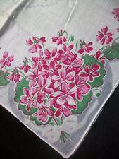 Floral Print Handkerchief Pink & Gray Flower Hankie Vintage Printed Hanky 1109
