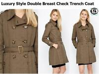 LADIES RETRO CHECK PRINT TRENCH COAT SIZE 8-18 DOUBLE BREAST VINTAGE JACKET MAC