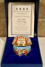 Intricate 1998 Halcyon Days Hinged Easter Egg Enamel w/ Display Case and Stand