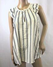 J Crew Woman's Sleeveless Silk Ivory White Black Stripe Ruffle Top Blouse Size 8