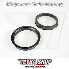 2x Anelli di centraggio 63,3mm - 54,1 mm in grigio scuro NUOVO