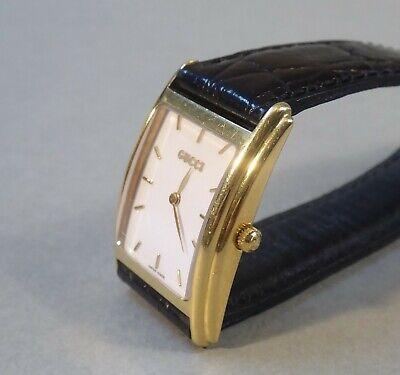 Original Gucci 750 Gold Uhr 18 Karat Armbanduhr Lederarmband Swiss made