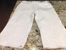 Chicos Platinum Size 1.5 White Denim Cotton Blend Capri Size 10 Women's pants