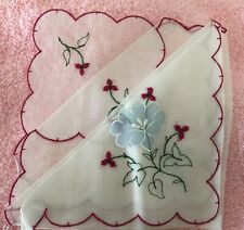 Vintage Hanky Sheer White Red Blue Floral Appliques Embroidery History Bounding!