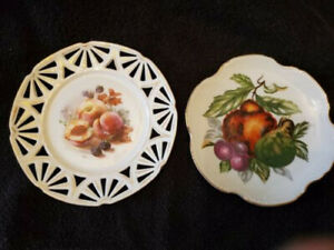 """Two 6 ¼""""-7"""" Vintage White Glass Plates with Fruit"""