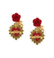 232978878f05 Dolce   Gabbana Sagrado Corazón Pendientes   Rosas Rojas-Lujo